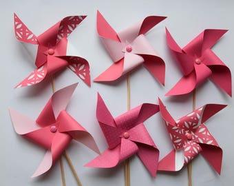 Windmills pink - nursery decor, baptism, baby shower, birthday, wedding