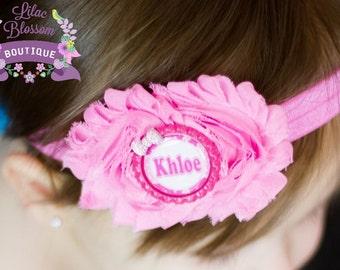 Personalized Pink Baby Girl Headband, Pink Shabby Chic Headband, Newborn Headband, Personalized Bow, Baby Bow With Name, Baby Shower Gift