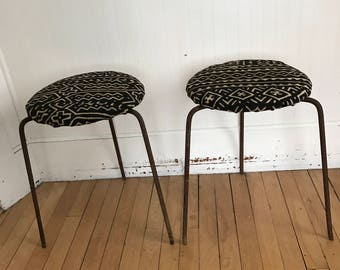 Mid Century Stools Mud Cloth Stools Spider Leg Stools Mali Cloth Tribal  Iron Stacking Metal Rust