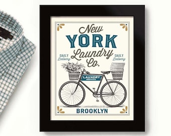New York City Laundry Decor Idea Big Apple Old Bicycle Laundry Room Sign Wash Clothes Linens and Sheets Flowers Rustic Art Print