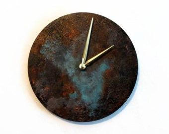 Patina Wall Clock, Sustainable Wood Home Decor
