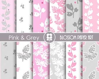 Pink Digital Paper, Pink Grey Digital Paper Pack, Digital Paper Pack, digital backgrounds, Leaves Papers -1691