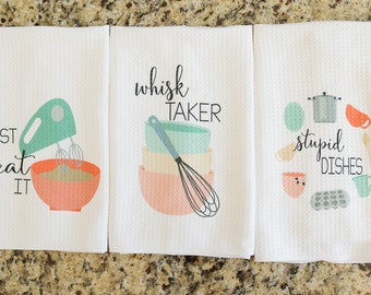 Unique Kitchen Decor - Funny Dish Towel - Gift for Bridal Shower - Funny Hostess Gift - Funny Kitchen Towels - Cute Tea Towels - Foodie Gift