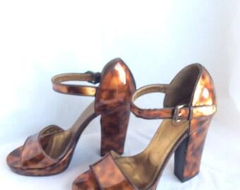 Prada platform shoes chunky heel caramel tones retro size 7.5