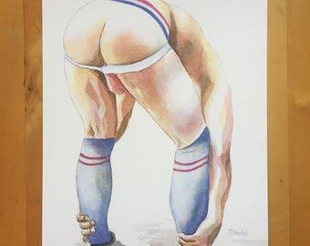 "PRINT of Original Art Work Watercolor Painting Gay Interest Male Nude ""Caramel"""
