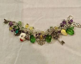 Mardi Gras Bracelet , Mardi Gras Charm Bracelet ,  Fleur De Lis Bracelet  , Paris Charm Bracelet