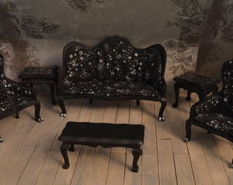 Miniature Vampire/Goth/Witch Furniture Set, living room furniture in 1/12 scale