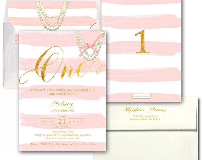 Pink and Gold First Birthday Invitation Blush Pink Pearls Striped Birthday Invite Girls Birthday Invitation Modern Elegant - SANTA BARBARA