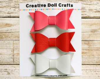 Doll Hair Accessory, Doll Hair Bow Clips, Doll Birthday Party Favor, Doll Party, Girl Doll Gift, Pink Doll Bow, Red Doll Bow, White Doll Bow
