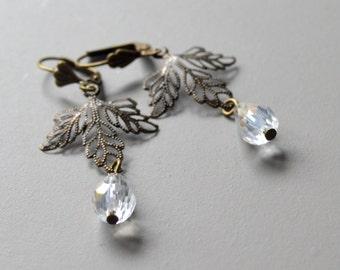 Earrings crystal drop pierced sheet
