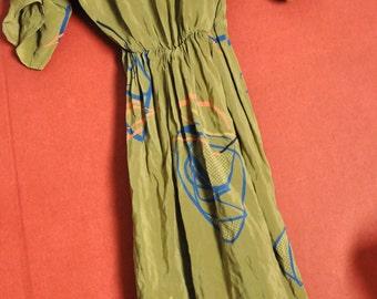 vintage 80s Dress silk olivegreen abstract Loosefit dress S-M