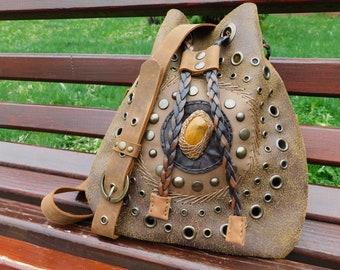Leather Bucket Bag - Light and Dark Brown Bag - Cross Body Bucket Bag - Everyday Bag - Boho Bucket Bags - Mandala Bag