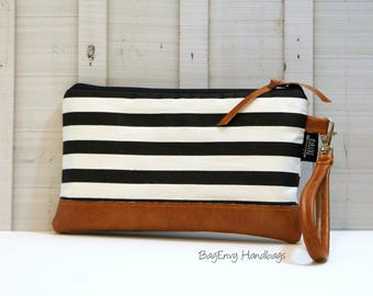 Black and White Stripe with Vegan Leather - Zippered Wristlet Clutch /  Bridesmaid Gift- Accessory Make Up Bag -
