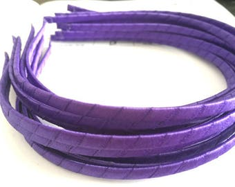 10pieces purple satin metal hair headband covered 5mm wide