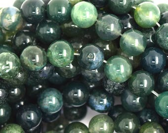 """10mm green moss agate round beads 15"""" strand 36661"""