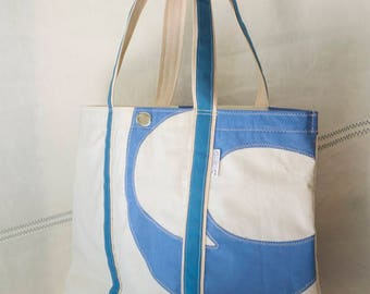 Terapin Beach Bag, Large Sailcloth Tote, Recyced sails, original Blue sail numbers