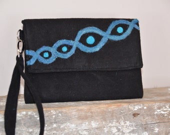Black Clutch Curvy Teal Design Handmade