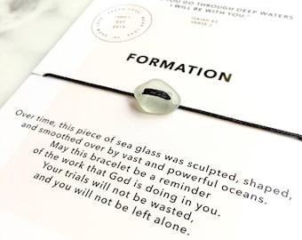 Genuine Sea Glass Bracelet/ Inspirational Jewelry/ Layering Bracelet/ Friendship Bracelet/ Ocean Sea Bracelet/ Meaningful Jewelry