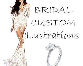 DIGITAL Bridal Custom Illustration