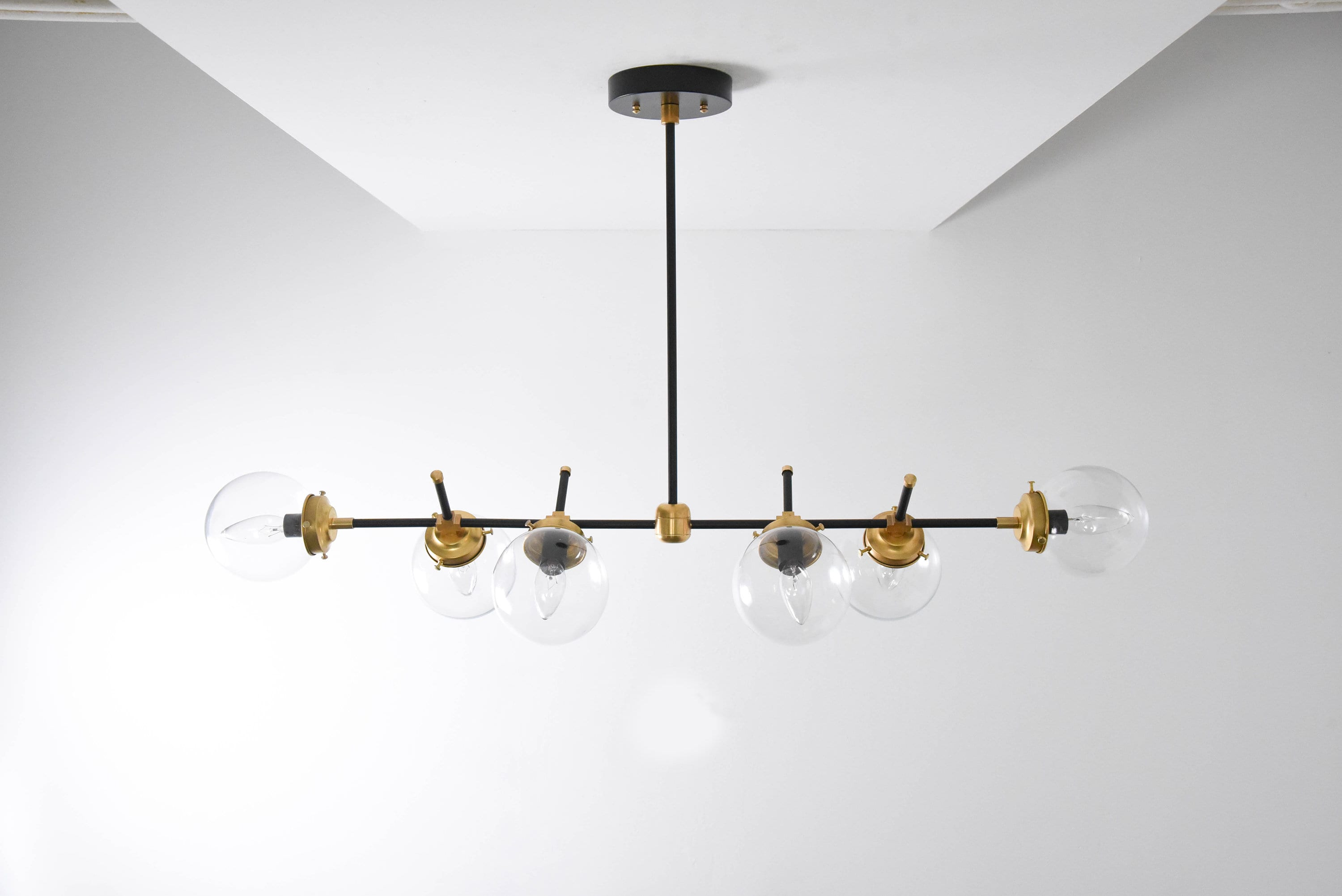 Modern bubble candelabra chandelier raw brass gold 6 arm light clear modern bubble candelabra chandelier raw brass gold 6 arm light clear globe pinwheel sputnik mid century industrial hanging light ul listed arubaitofo Image collections