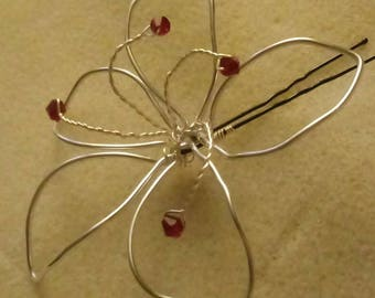 Wire lily hairpin, bridal hairpin, wedding accessory