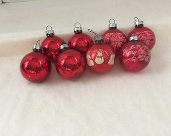 Exceptionnel Set Of 8 Red Mercury Glass Red Ball Ornaments Stencil Angel Merry Christmas  Vintage Made In