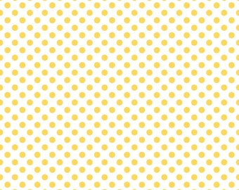 Yellow Small Dots on White Fabric by Riley Blake Designs - by the Yard - 1 Yard - C480-50