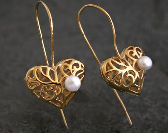 Mother Gift, Mother Gift, Gold Heart Earrings, Gold Dangle Earrings, Gold Heart Pearl Earrings, Heart Drop Earrings, Gold Heart Jewelry