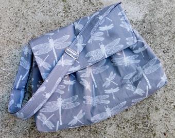 Grey Medium Messenger Bag - Dragonflies Grey Messenger Bag