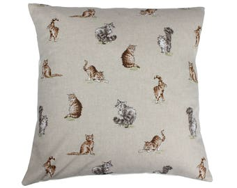 Cats Countryside Animal Print Cushion Cover