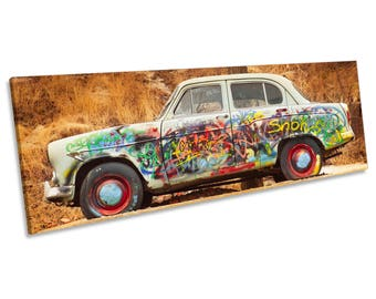 Graffiti Car Urban CANVAS WALL ART Panoramic Framed Print