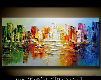 contemporary wall art,Palette Knife Painting,colorful Park painting,wall decor  Home Decor,Acrylic Textured Painting ON Canvas by Chen new22