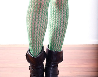 Vintage High Quality Green Holes and Striped Nylon Stockings Tights Size 12