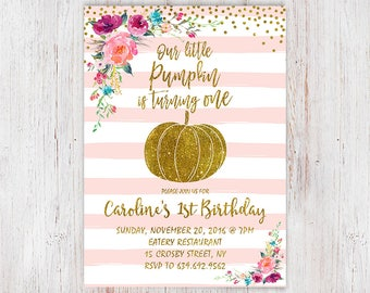 Pumpkin patch party pink and gold pumpkin 1st birthday our little pumpkin is turning one pink gold pumpkin first birthday invitation pink sweet filmwisefo Image collections