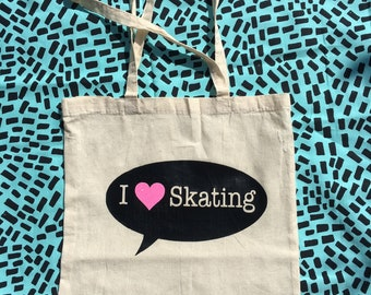 I Love Skating Tote bags and cases. I love Roller Derby tote bag and cases. Choose your favourite design. Skater name optional