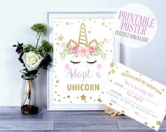 Unicorn party, Adopt a Unicorn certificate, Unicorn Birthday, Unicorn printable, Unicorn poster, Unicorn game, unicorn invitation, unicorn