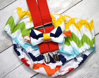 1st birthday boy outfit, cake smash suspender and bow tie, rainbow 1st birthday outfit, chevron cake smash outfit, chevron diaper cover