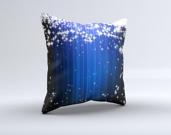 The Blue & White Rain Shimmer Strips ink-Fuzed Decorative Throw Pillow