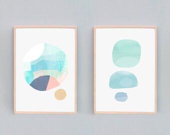 Set of 2, Contemporary Art Prints, Modern Abstract Painting, Art Print Sets, Light Modern Abstract Art, Calm Art, Art Sets, Art Combo