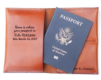 New American Citizen Gift, Naturalization Celebration Gift, Monogrammed, Home is Where Your Passport Is, USA Citizenship Gift, Passport