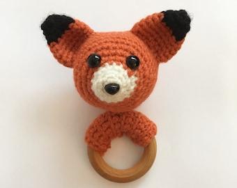 Fox baby teether, crochet, wooden ring