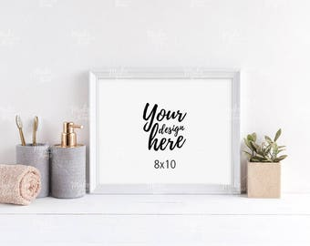 8x10 white wooden frame mockup / Styled stock photography / Instant download / horizontal frame / #8588