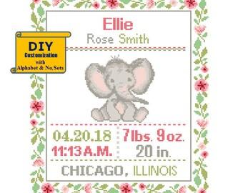 Elephant Cross Stitch Birth Announcement cross Stitch Birth Record Floral Baby Boy Girl Elephant Nursery pink gray birth sampler jungle