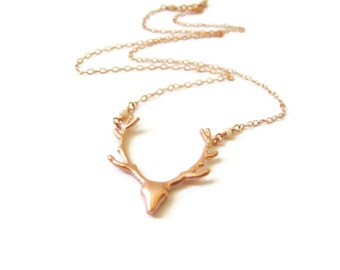 Rose Gold Deer Necklace Deer Necklace Antler Jewelry Rose Gold Version As Seen on Pretty Little Liars Woodland Nature Rustic Elk Gift Idea
