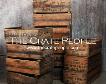 FREE SHIPPING - vintage Wood Crates - Zoria Farms Crate - Hundreds Available for Sale