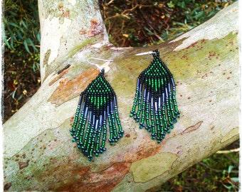 Emerald Green, Graphite, Black long dangle fringe earrings * BOHO beaded earrings * seed bead earrings * bead earrings * hippie