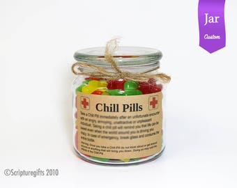 CUSTOMIZED Chill Pill 16 oz Apothecary Glass Jar Funny Gag Gift