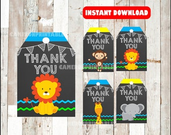 Safari Animal Thank you Tags instant download , Jungle Animal Thank you Tags, Printable Zoo Baby shower party tags