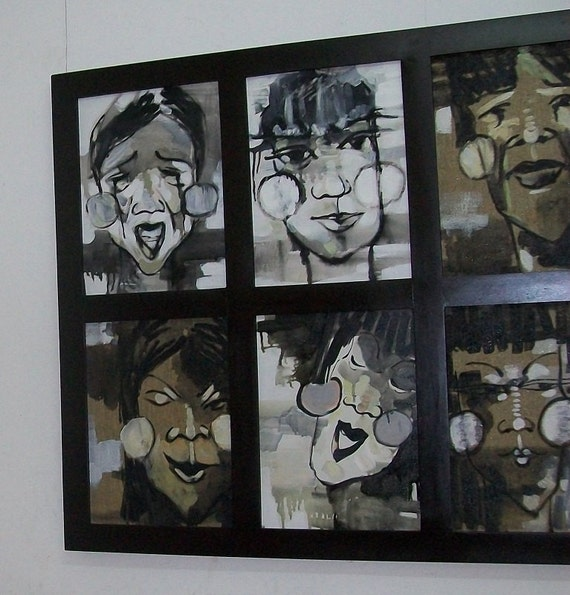 "EMOTIONS 68x36"" oil on canvas, ten portraits, framed wall decor, original painting by Nguyen Ly Phuong Ngoc"