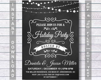 Holiday Invitation, Holiday Party, Holiday Invitation, Christmas Invitation, Christmas Party Invitation, Instant Download, chalkboard